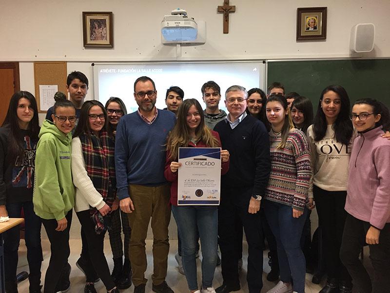 Reconocimiento a los alumnos de 4º de ESO de La Salle l'Alcora por su trabajo a favor de La Salle Acoge