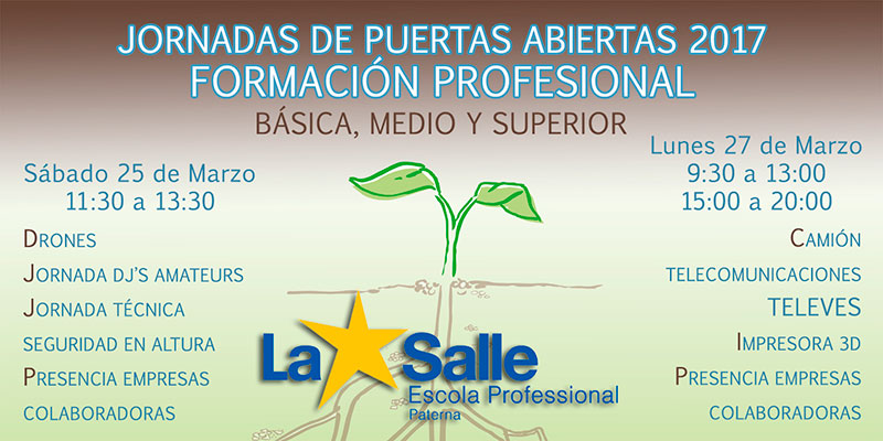 La Escuela Profesional La Salle de Paterna presenta sus jornadas de puertas abiertas