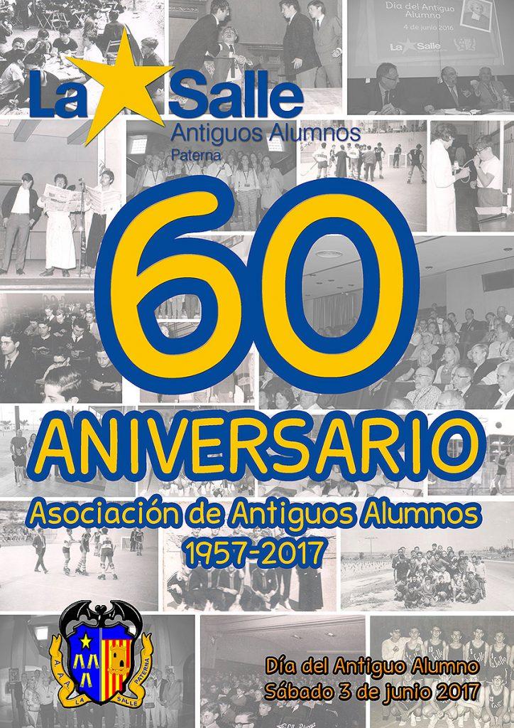 Cartel del 60 aniversario de la Asociación de Antiguos Alumnos del colegio La Salle de Paterna