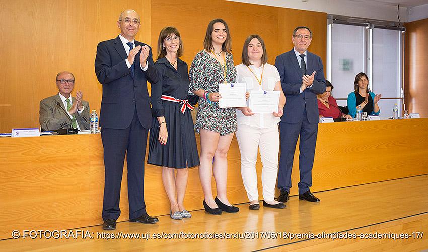 Les finalistes de Benicarló a l'entrega de premis a la Universitat Jaume I de Castelló