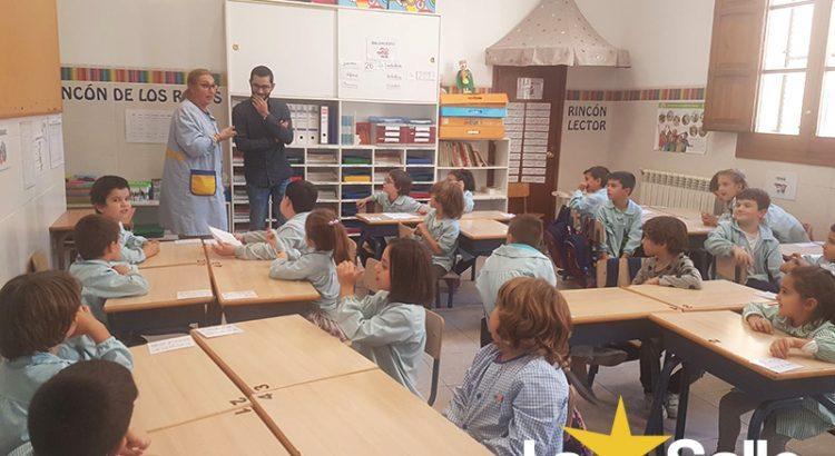 El alcalde de l'Alcora visita el colegio La Salle