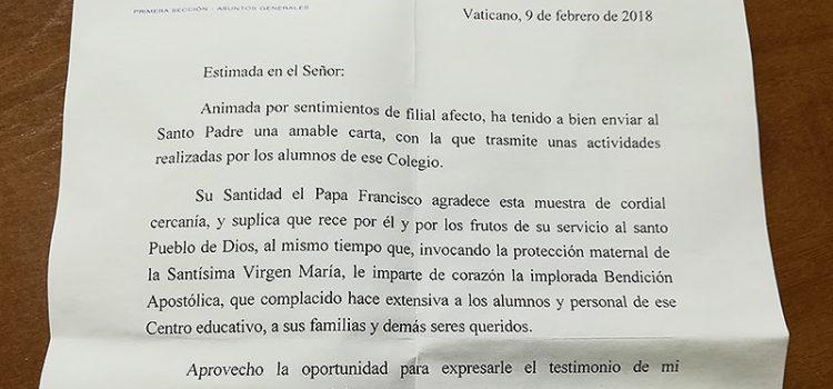 Alumnes de 4t d'ESO de La Salle Maó reben una carta del Papa Francisco