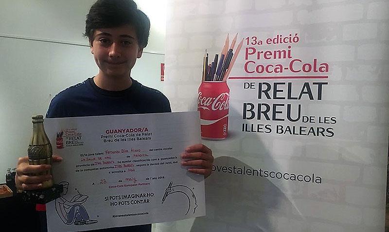 Fernando Díaz Álvaro, alumne de La Salle Maó, guanyador del premi Coca-Cola de relat breu de les Illes Balears