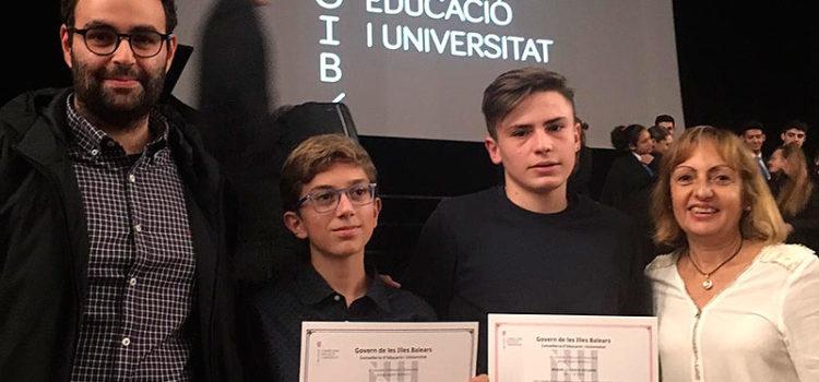 Adrià Galmés Mansergas  i Miquel Llorach Escuder, alumnes de La Salle Manacor, premis extraordinaris al rendiment acadèmic de Primària i Secundària